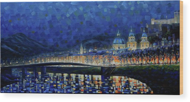 Salzburg Wood Print featuring the painting Austrian Nights by Rob Buntin