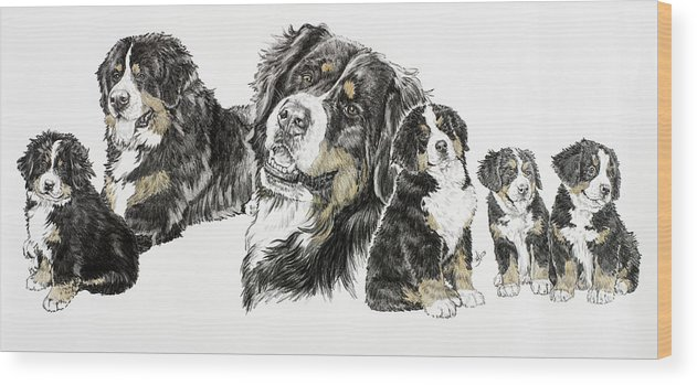 Bernese Mountain Dogs Wood Print featuring the painting Bernese Mountain Dog by Barbara Keith