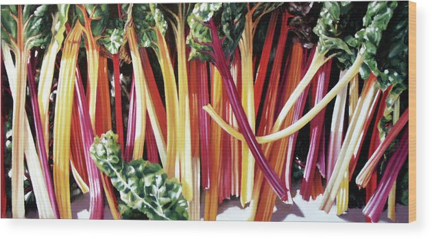 Kale Wood Print featuring the pastel Bright Lights by Dianna Ponting