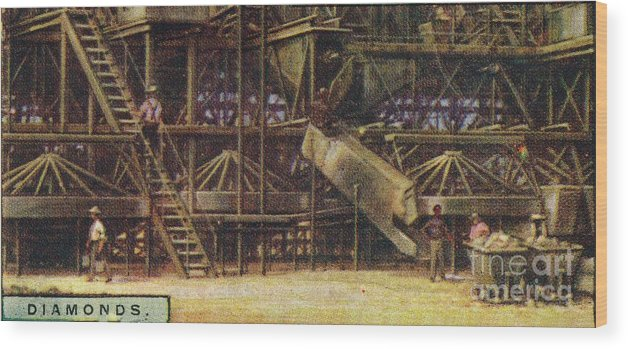 Panoramic Wood Print featuring the drawing Diamonds Washing Plant by Print Collector