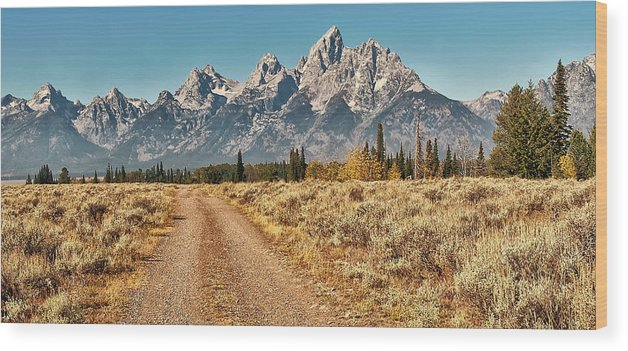 Tranquility Wood Print featuring the photograph Dirt Road To Tetons by Jeff R Clow