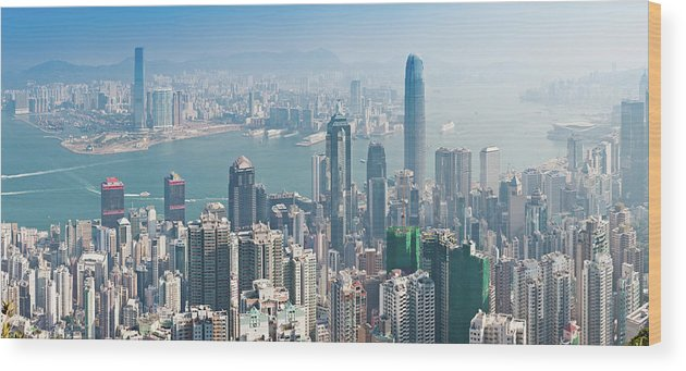 New Territories Wood Print featuring the photograph Hong Kong Iconic Skyscraper City by Fotovoyager