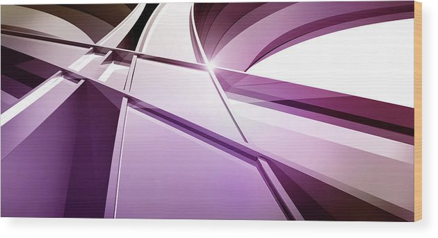 Curve Wood Print featuring the digital art Intersecting Three-dimensional Lines In by Ralf Hiemisch