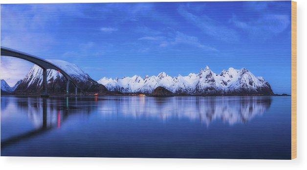 Bridge Wood Print featuring the photograph Lofoten Panorama by Daniel Fleischhacker