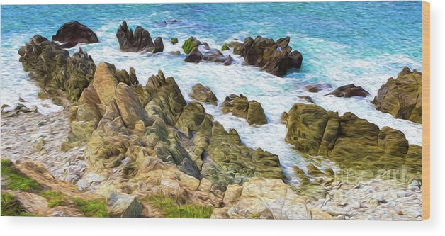 Mexico Wood Print featuring the digital art Ocean Rocks in Puerto Vallarta Mexico by Kenneth Montgomery