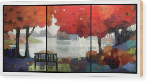 Landscape Wood Print featuring the painting Peaceful Fall by Farhan Abouassali