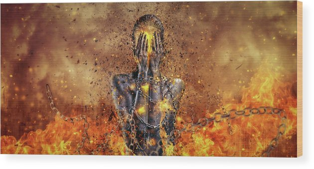 Surreal Wood Print featuring the digital art Through Ashes Rise by Mario Sanchez Nevado