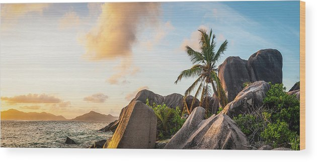 Tropical Rainforest Wood Print featuring the photograph Idyllic Tropical Island Sunset Over by Fotovoyager