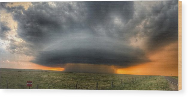 Problems Wood Print featuring the photograph Thunderstorm Over Grassy Field by Brian Harrison / Eyeem