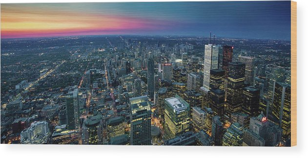 Downtown District Wood Print featuring the photograph Toronto Downtown City At Night by D3sign