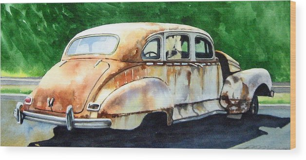 Hudson Car Rust Restore Wood Print featuring the painting Hudson Waiting For a New Start by Ron Morrison