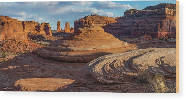 Moab Wood Print featuring the photograph Moab Back Country Panorama 2 by Dan Norris