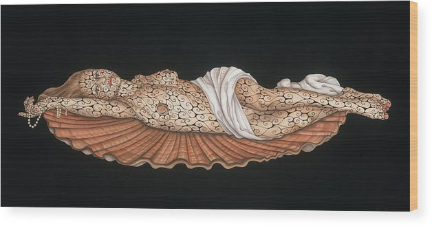 Contemporary Wood Print featuring the painting Venus on the Half-Shell by Tina Blondell