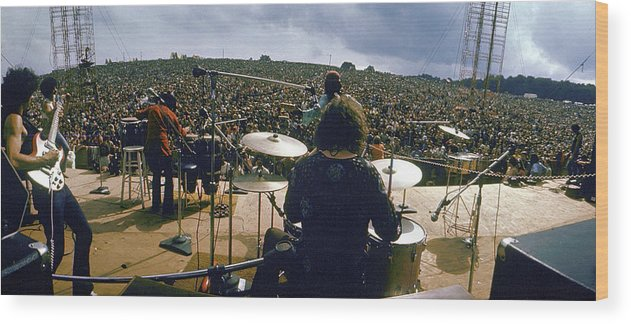 Timeincown Wood Print featuring the photograph Santana Onstage At Woodstock by Bill Eppridge