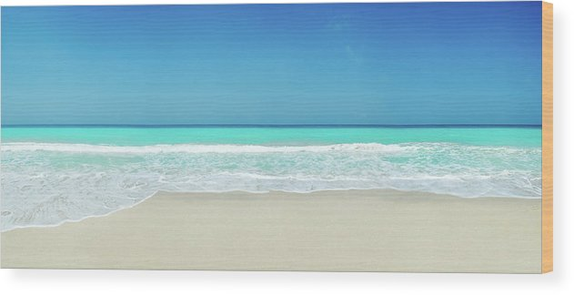 Water's Edge Wood Print featuring the photograph Tropical White Sand Beach by Apomares