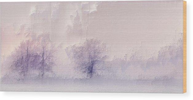 Wood Print featuring the digital art Winter landscape by Jenny Filipetti