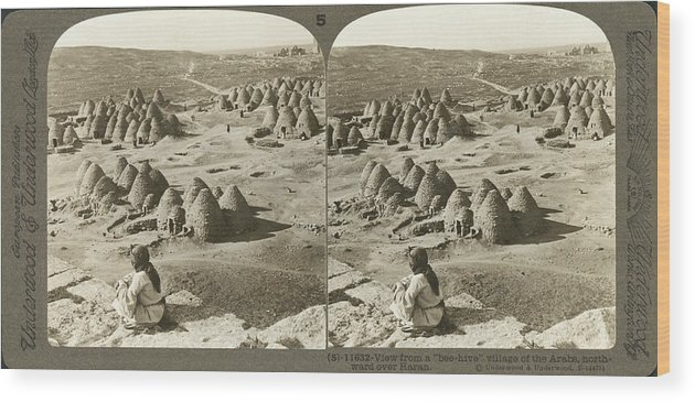 1900 Wood Print featuring the photograph Arab Bee Hive Village by Underwood & Underwood