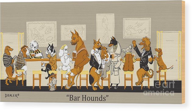 barhounds Wood Print featuring the mixed media Bar Hounds by Constance Depler