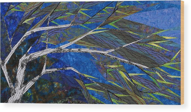 Tree Wood Print featuring the tapestry - textile Bending Not Breaking by Linda Beach