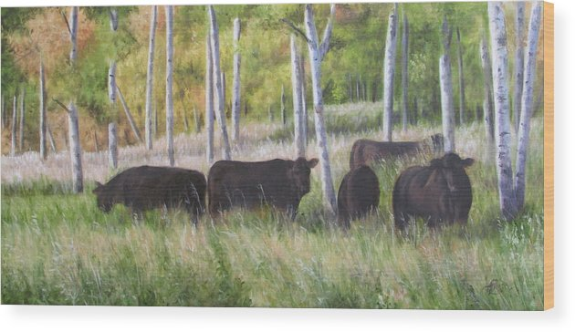 Black Angus Wood Print featuring the painting Black Angus Grazing by Tammy Taylor