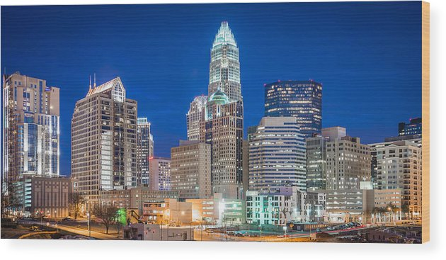 North Carolina Wood Print featuring the photograph Charlotte Skyline by Sky Noir Photography by Bill Dickinson