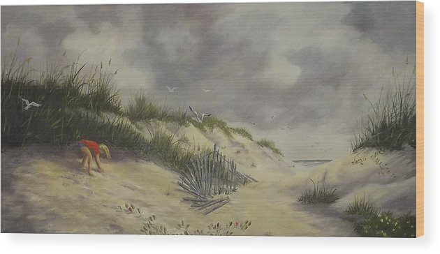 Seascape Wood Print featuring the painting Finding Treasure by Wanda Dansereau