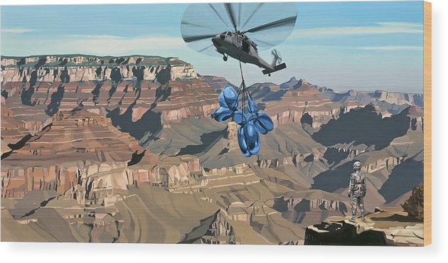 Astronaut Wood Print featuring the painting Grand Canyon by Scott Listfield