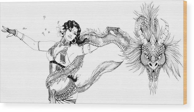 Dragon Wood Print featuring the drawing Dragon Dancer by Scarlett Royal