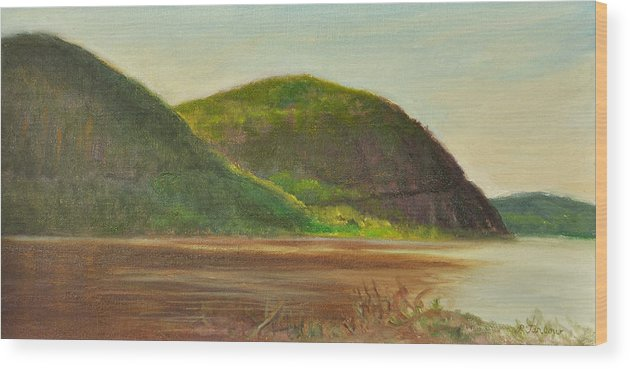 Landscape Wood Print featuring the painting Hudson at Storm King by Phyllis Tarlow
