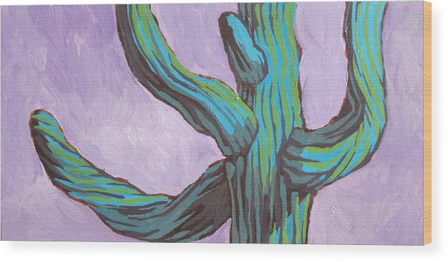 Cactus Wood Print featuring the painting Saguaro 11 by Sandy Tracey