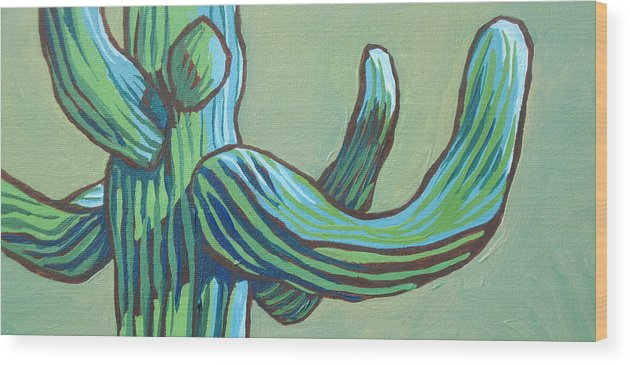 Saguaro Wood Print featuring the painting Saguaro 12 by Sandy Tracey