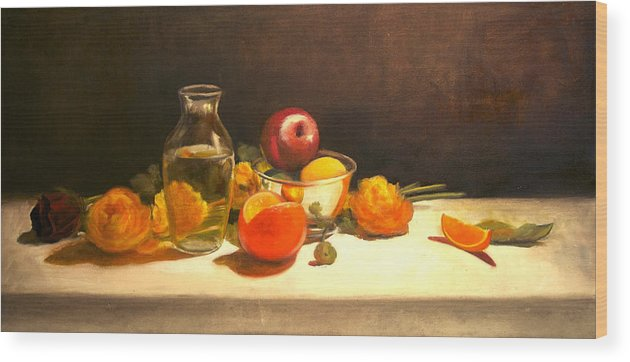 Orange Wood Print featuring the painting Silver and Glass by Jayne Howard