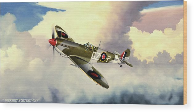 Military Wood Print featuring the painting Spitfire by Marc Stewart