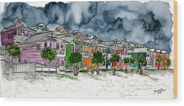 Watercolor Wood Print featuring the painting Beach Houses Watercolor Painting by Derek Mccrea
