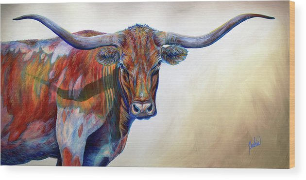 Longhorn Wood Print featuring the painting Blue Eyes by Teshia Art