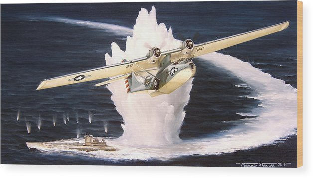 Military Wood Print featuring the painting Caught on the Surface by Marc Stewart