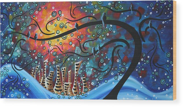 Art Wood Print featuring the painting City by the Sea by MADART by Megan Duncanson