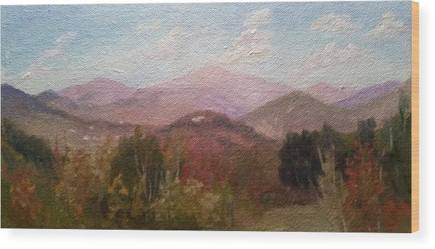 Mt. Washington Wood Print featuring the painting Clear September Afternoon by Sharon E Allen