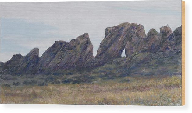 Loveland Colorado Landscape Wood Print featuring the painting Devils Backbone Looking East by Billie Colson