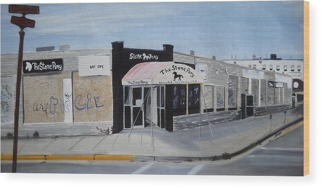 Acrylic Painting Of The Stone Pony Wood Print featuring the painting End of an Era by Patricia Arroyo