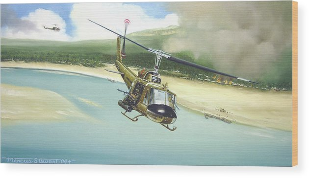 Military Wood Print featuring the painting Hunter Hueys by Marc Stewart