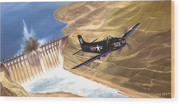 Military Wood Print featuring the painting Last of the Dambusters by Marc Stewart