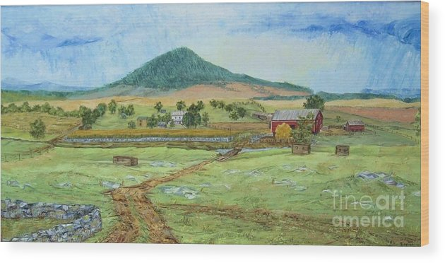 Landscape With Hill In Center Background Wood Print featuring the painting Mole Hill Panorama by Judith Espinoza