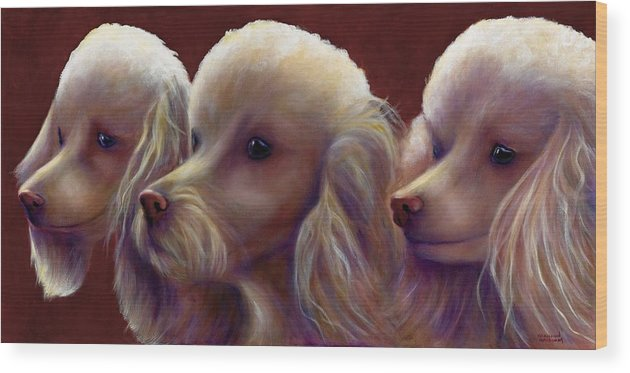 Dogs Wood Print featuring the painting Molly Charlie and Abby by Shannon Grissom