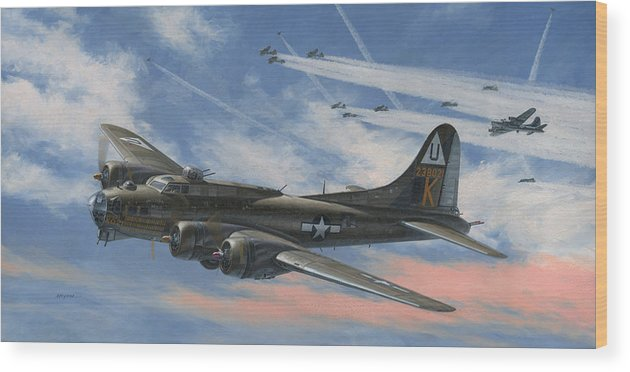 Boeing Wood Print featuring the painting Never Turned Back by Wade Meyers