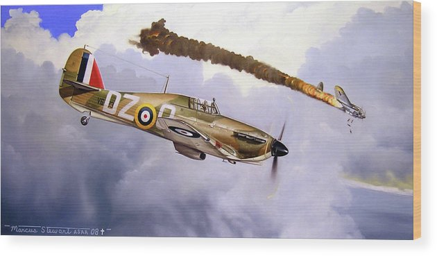 Aviation Art Wood Print featuring the painting One of the Few by Marc Stewart