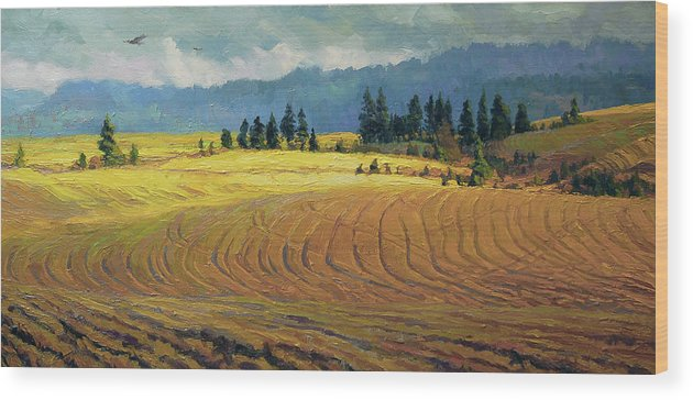 Country Wood Print featuring the painting Pine Grove by Steve Henderson