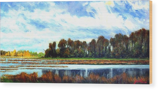 Landscapes Wood Print featuring the painting Ridgefield Refuge Early Fall by Jim Gola
