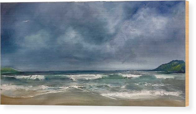 Shores Wood Print featuring the painting Soothing Shores by Fiona Jack