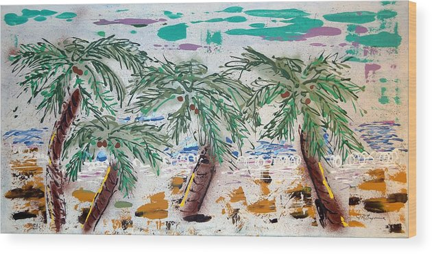 Abstract Wood Print featuring the painting Surf and Palms by J R Seymour